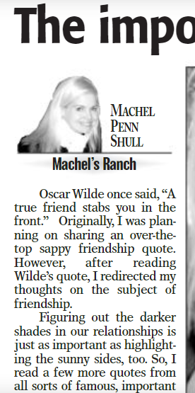 Machel Shull-Newspaper Columnist in the Rancho Santa Fe News from 2008-2013