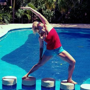 Machel Shull, Yoga at Pool, Playacar